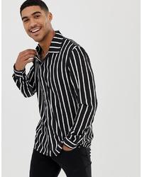 Liquor N Poker Revere Collar Shirt With Stripes In Black