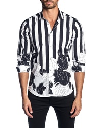 Jared Lang Trim Fit Stripe Floral Print Sport Shirt