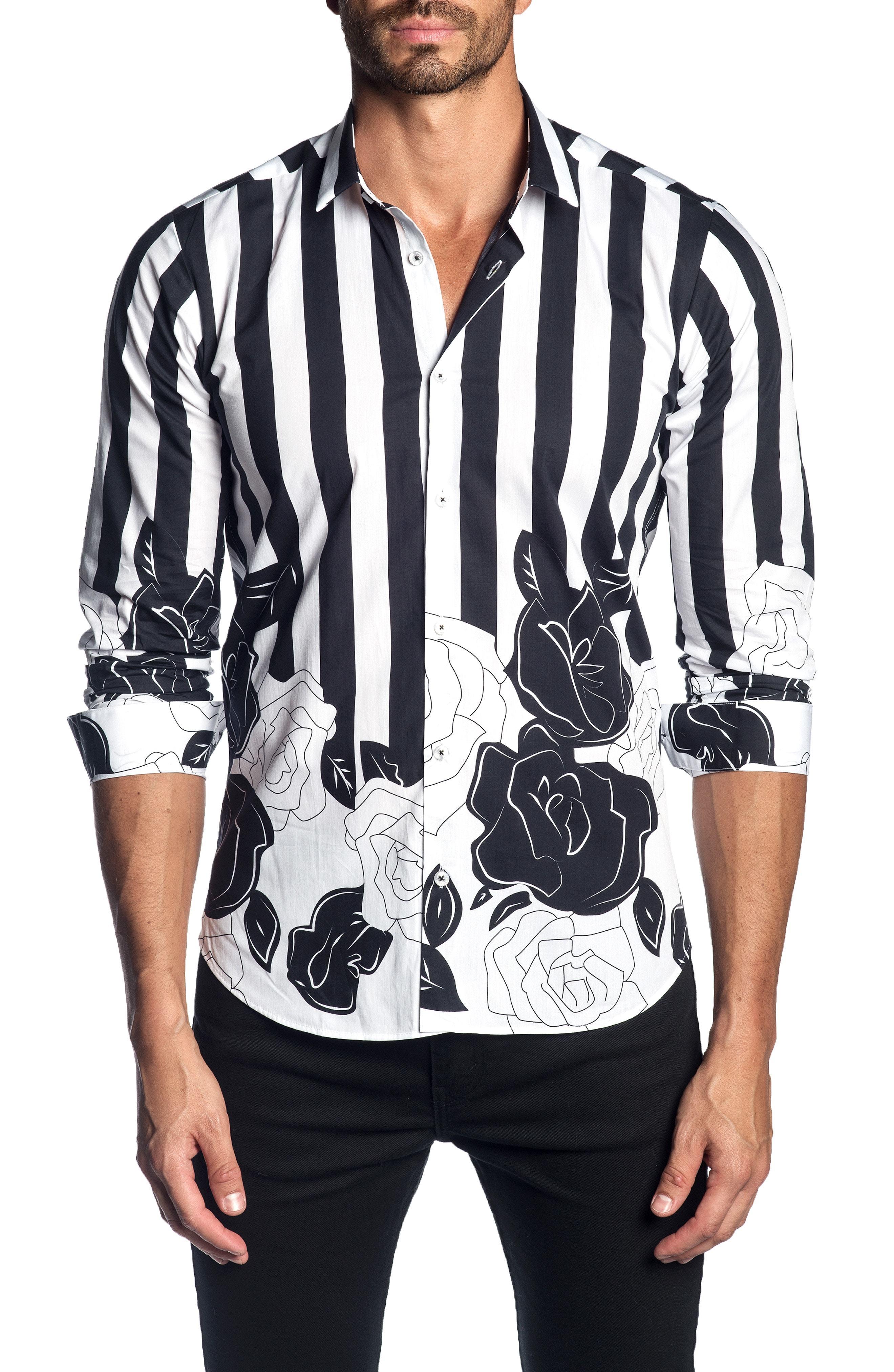 848e3fecdc Jared Lang Trim Fit Stripe Floral Print Sport Shirt, $106 ...