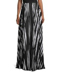 Tory Burch Animal Striped Pleated Maxi Skirt Blackwhite