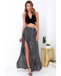 Stripe left or right black and white striped maxi skirt medium 358994