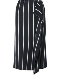 Black and White Vertical Striped Midi Skirt