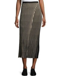 Ribbed striped midi skirt black medium 1252930