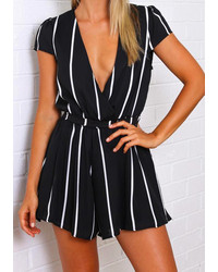 Deep v neck vertical stripe black jumpsuit medium 238391