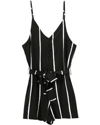 Spaghetti strap vertical striped with bow black jumpsuit medium 238390
