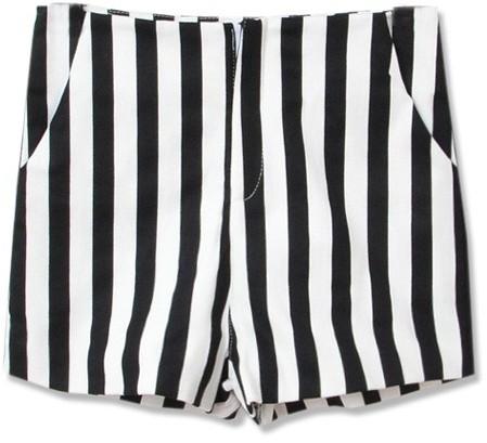 2592fcb19a ... Black and White Vertical Striped Shorts ChicNova Stripe High Waist  Shorts ...