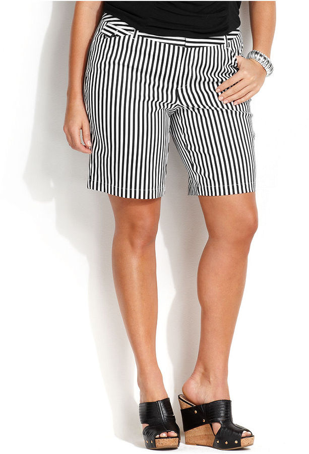 inc international concepts plus size striped bermuda shorts