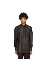 Dolce and Gabbana Black Silk Twill Pinstripe Shirt