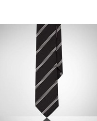 Black and White Vertical Striped Silk Tie