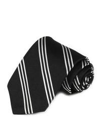 Gitman Woven Repp Stripe Silk Tie In Black And White