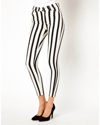 Just Female Striped High Waisted Skinny Jeans