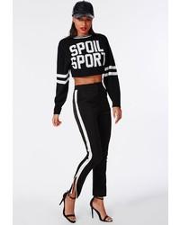 Missguided Zip Side Stripe Cigarette Trousers Black