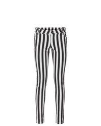 Rainbow skinny fit ankle grazers in black usedwhite striped size 10 medium 453276