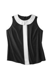 Black and White Vertical Striped Sleeveless Top