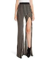 Balmain Split Front Metallic Stripe Pants