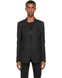 Saint Laurent Black Flannel Rive Gauche Stripe Blazer