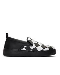 Bottega Veneta White And Black Maxi Intrecciato Slip On Sneakers