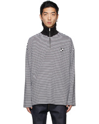 We11done Black White Logo Half Zip Sweater