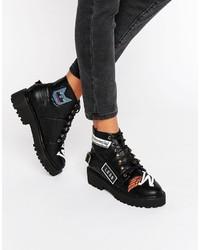 Asos Arrest Patchwork Ankle Boots