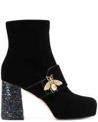 Gucci Bee Glitter Heel Booties