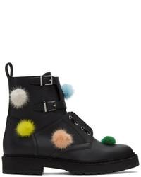 Fendi Black Pom Pom Combat Boots