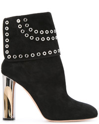 Alexander McQueen Eyelet Flap Heeled Ankle Boots