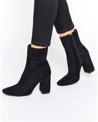 Boohoo High Ankle Block Heeled Boot