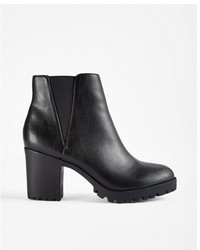 Express Low Block Heel Stretch Lug Booties