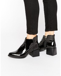 Boohoo Patent Block Heeled Ankle Boot