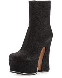 Maison Margiela Shimmery Platform 135mm Curve Heel Bootie Black