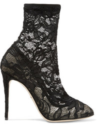 Dolce & Gabbana Stretch Lace And Tulle Sock Boots Black