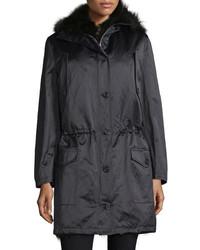Michael Kors Michl Kors Button Front Anorak Jacket Wfur Hood Black