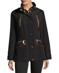 MICHAEL Michael Kors Michl Michl Kors Water Resistant Cinched Waist Anorak Jacket Black