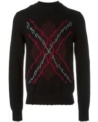 Distressed argyle knit jumper medium 616339