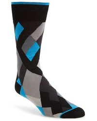 Bugatchi Exploded Argyle Pattern Socks Black