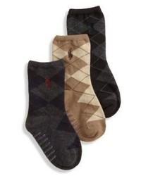 Ralph Lauren Toddlers Three Pair Argyle Slack Socks