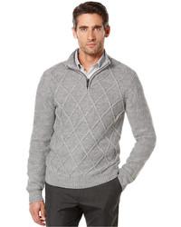 388be2f660 ... Perry Ellis Quarter Zip Diamond Pattern Sweater