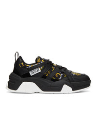 VERSACE JEANS COUTURE Black And Gold Barocco Sneakers
