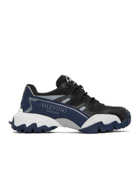 Valentino Black And Navy Garavani Climber Sneakers