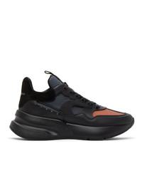 Alexander McQueen Black And Orange Panelled High Sneakers