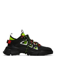 McQ Alexander McQueen Black And Yellow Orbyt Runner Sneakers