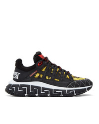 Versace Black And Yellow Trigreca Sneakers
