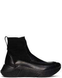Giorgio Armani Black Paneled Chunky Soled High Top Sneakers