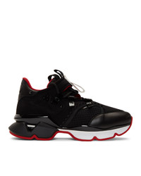 Christian Louboutin Black Red Runner Flat Sneakers
