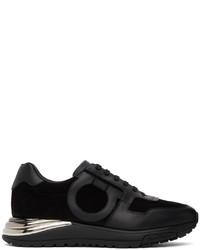 Salvatore Ferragamo Black Suede Brooklyn Low Sneakers