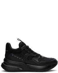 Alexander McQueen Black Textured Oversized Runner Sneakers