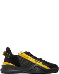Fendi Black Yellow Flow Low Top Sneakers