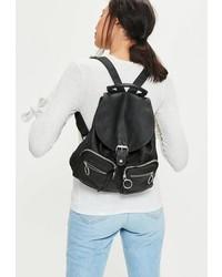 Missguided Black Pocket Detail Backpack