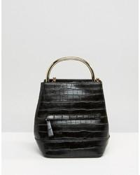 Mango Croc Detail Metal Handle Backpack