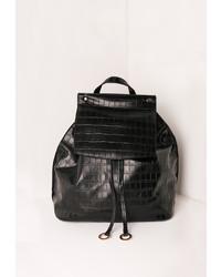 Missguided Croc Circle Trim Backpack Black